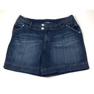 Lane Bryant Denim Jean Shorts Mid Thigh Dark Wash